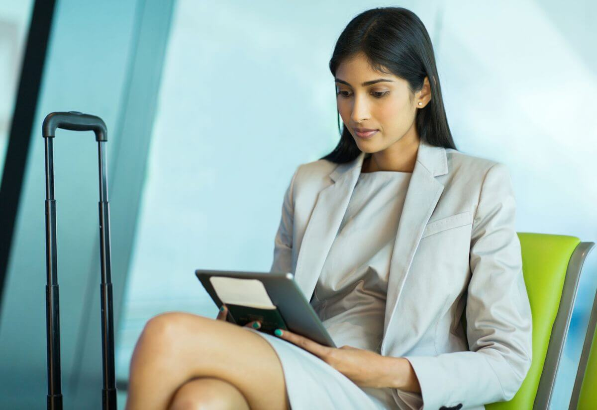 Woman Learns about Business Travel Booking